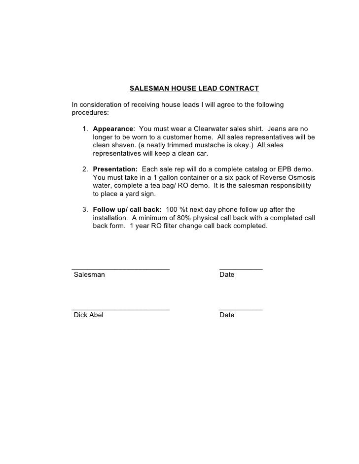 Salesman House Lead Contract