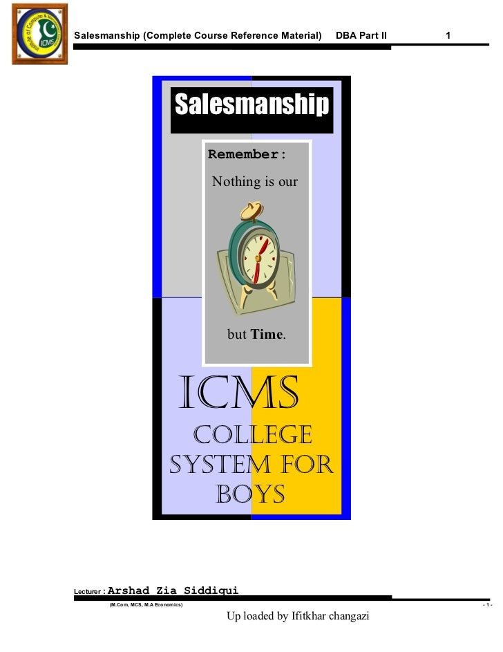 Salesmanship (Complete Course Reference Material)                 DBA Part II   1                                    Sales...