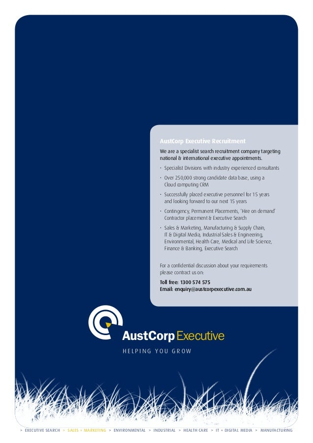 AustCorp Executive Recruitment We are a specialist search recruitment company targeting national & international executive...