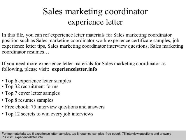 sales marketing coordinator experience letter