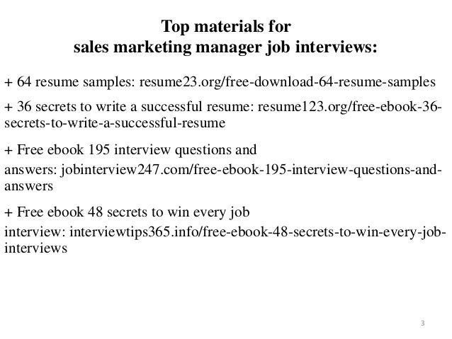 Sales Marketing Manager Resume Sample Pdf Ebook Free Download