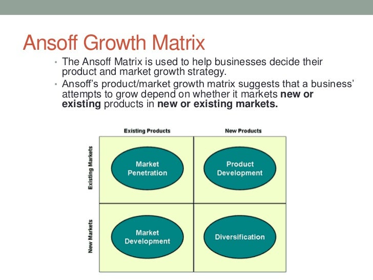 explain how the ansoff matrix can be applied to help develop strategic marketing options for an ente Ansoff's opportunity matrix presents four options to help management develop strategic alternatives: market penetration, market development, product development, and diversification in selecting a strategic alternative.
