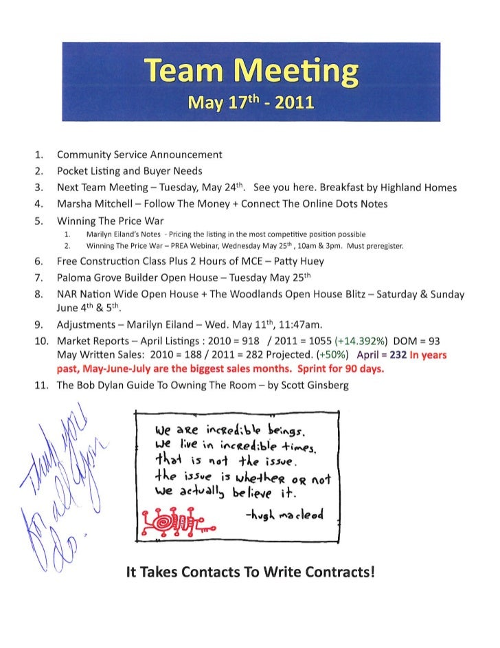 Sales meeting agenda notes for prudential gary greene icon realtors   the woodlands tx may 17th 2001
