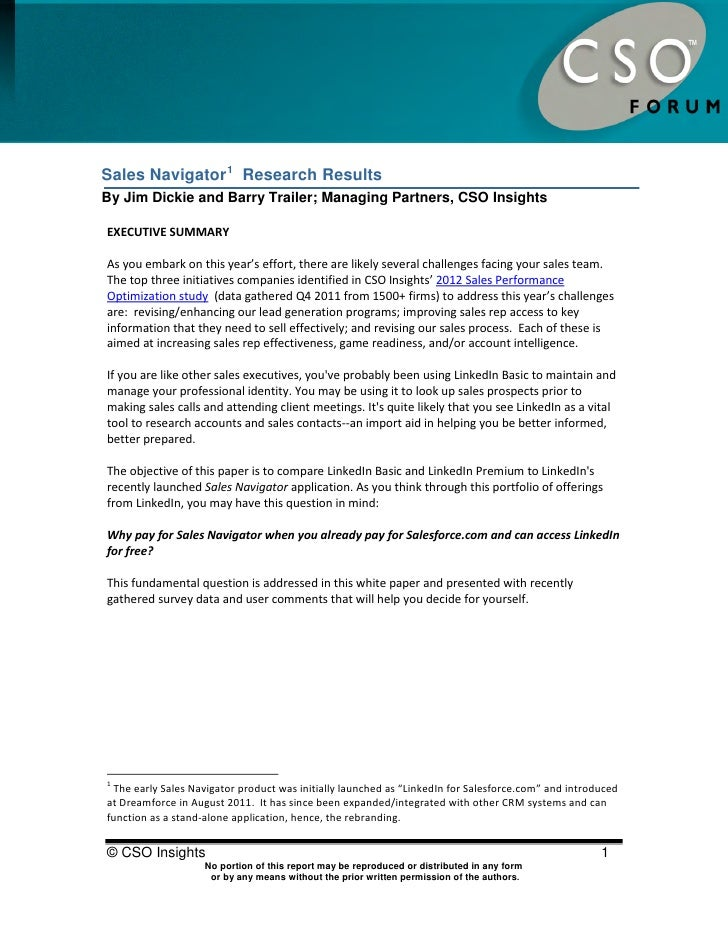 Sales Navigator Research ResultsSales Navigator 1 Research ResultsBy Jim Dickie and Barry Trailer; Managing Partners, CSO ...