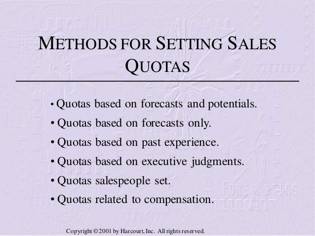 Sales objectives and quotas