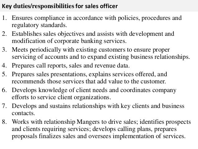 Sales officer job description - Compliance officer bank job description ...
