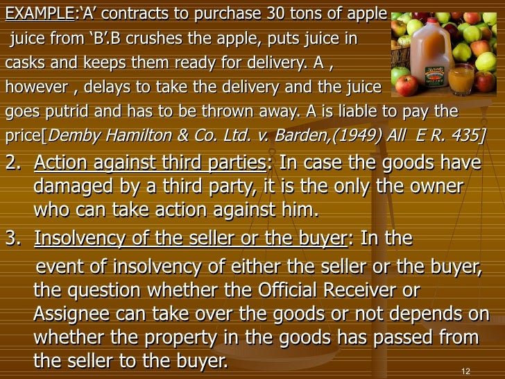 EXAMPLE:'A' contracts to purchase 30 tons of apple juice from 'B'.B crushes the apple, puts juice incasks and keeps them r...