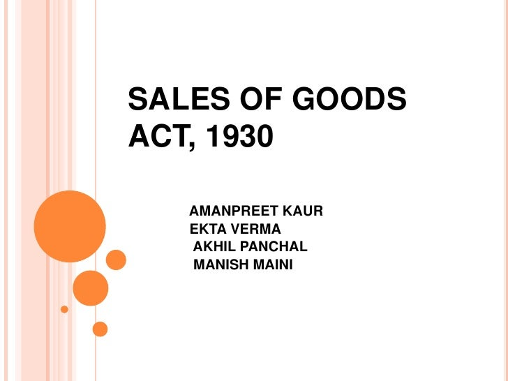 Sales of Goods Act. |authorSTREAM