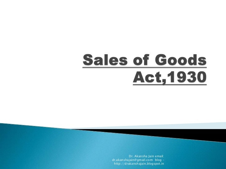 Sales Of Goods Act,1930