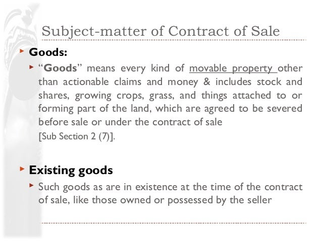 subject matter of contract of sale