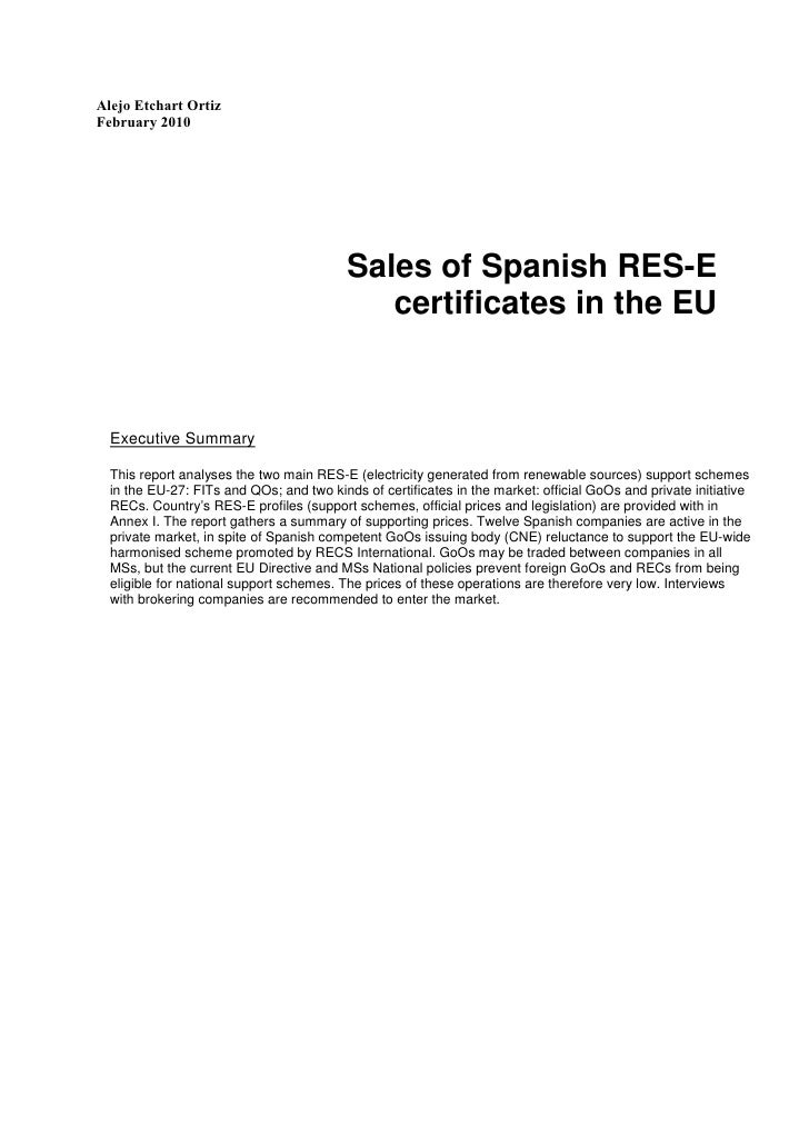 Sales Of Spanish Green Certificates In The Eu