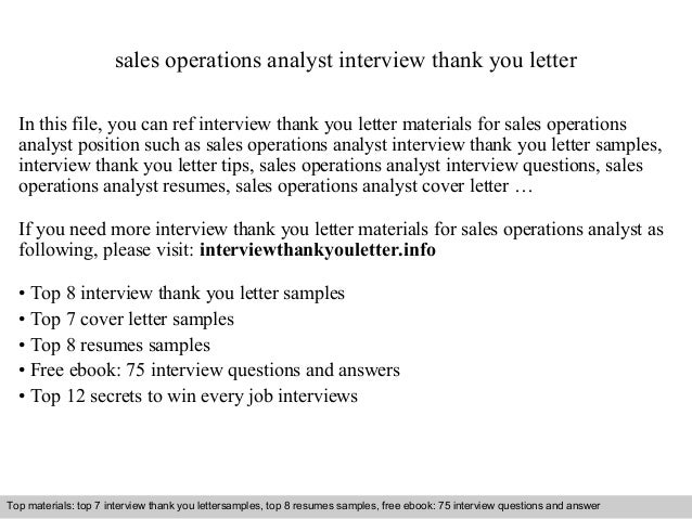 Sales Operations Analyst Interview Thank You Letter In This File, You Can  Ref Interview Thank ...