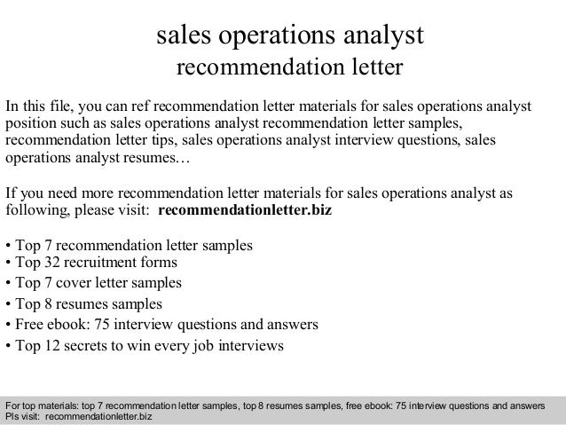 Sales operations analyst recommendation letter