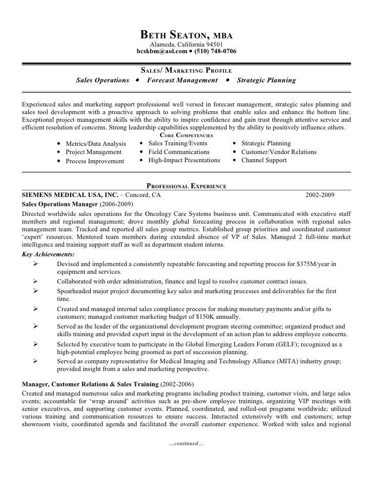marketing operations manager resume