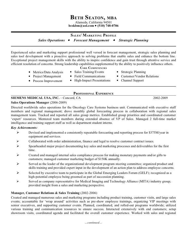 vp sales operations resume