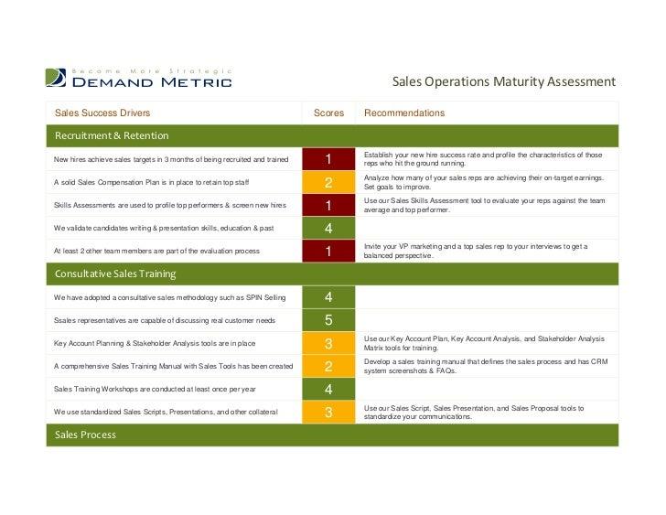 sales operations maturity assessmentsales success drivers