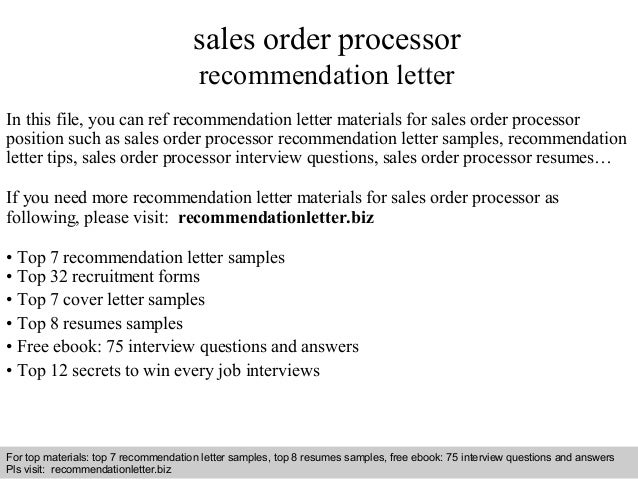 Sales Order Processor Recommendation Letter