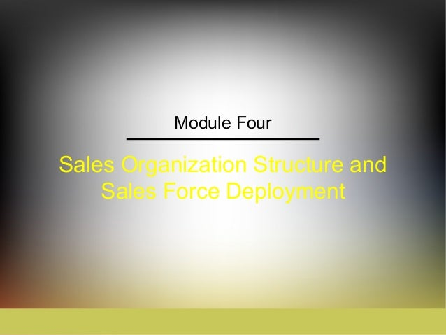 Module FourSales Organization Structure and    Sales Force Deployment