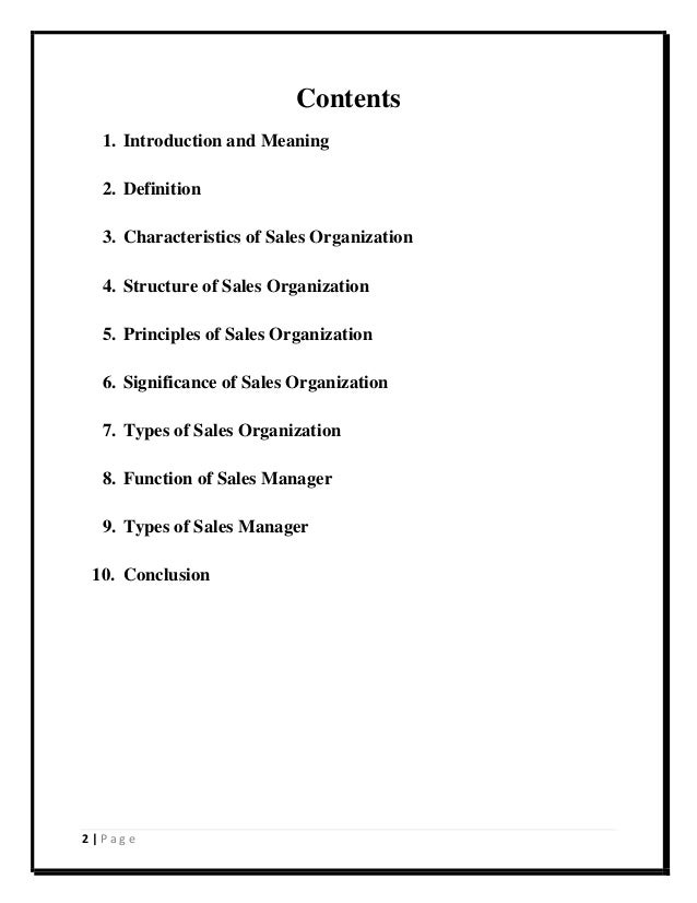 different types of sales organisation
