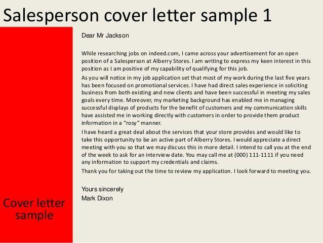salesperson cover letter