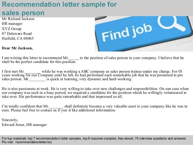 Sample Letter Of Recommendation For Sales Position