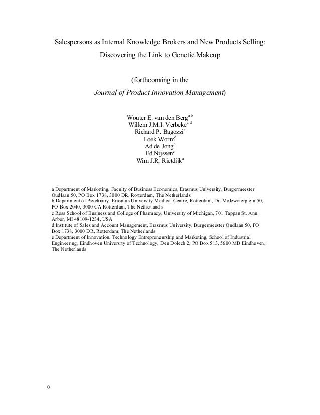 Salespersons as Internal Knowledge Brokers and New Products Selling: Discovering the Link to Genetic Makeup (forthcoming i...