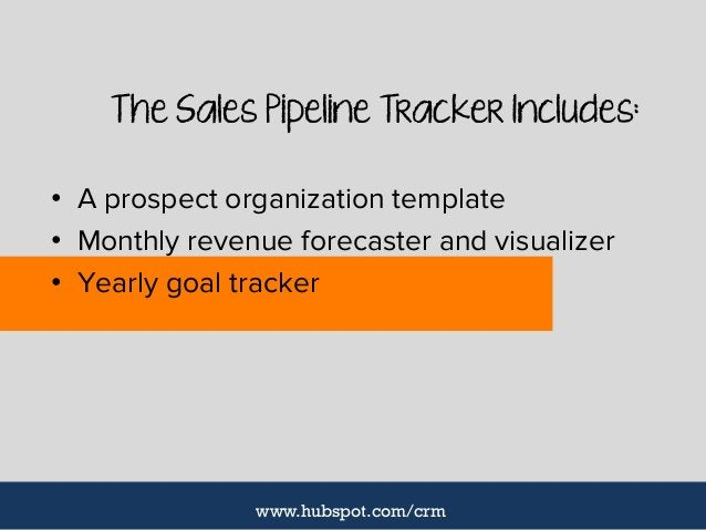 The Sales Pipeline Tracker Includes: • A prospect organization template • Monthly revenue forecaster and visualizer • Year...