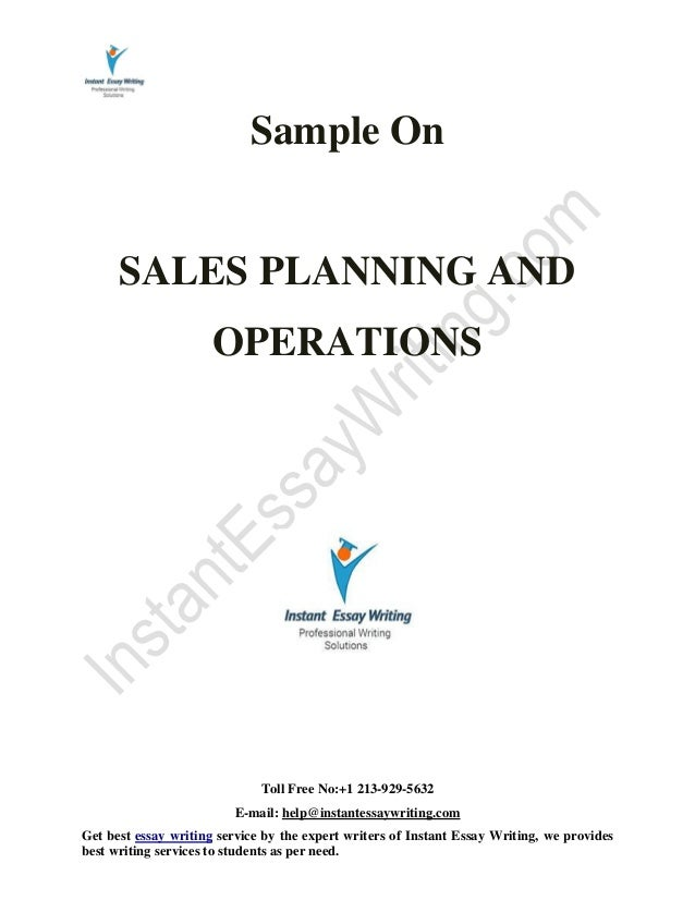 Sales planning and operation assignment essay