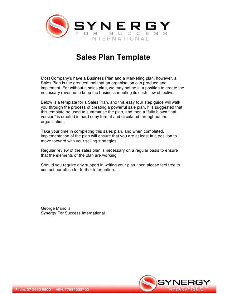 Sales Plan Template - Business sales plan template