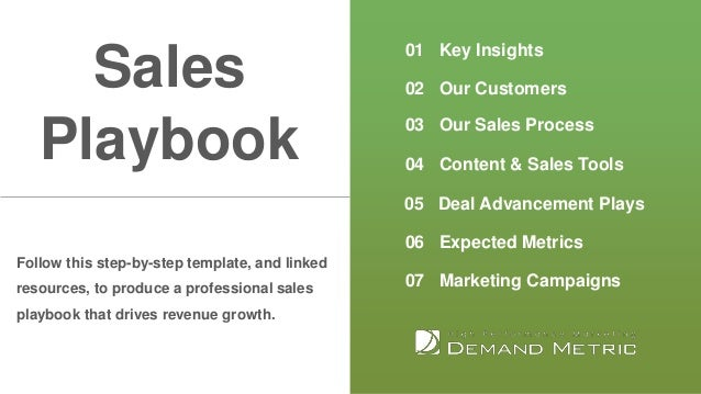 01 Key Insights 02 Our Customers 03 Our Sales Process 04 Content & Sales Tools 05 Deal Advancement Plays 06 Expected Metri...