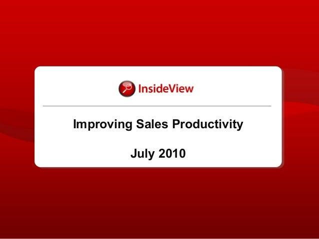 Improving Sales Productivity July 2010
