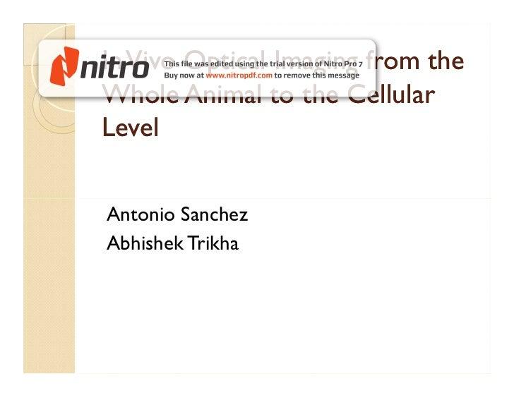 In Vivo Optical Imaging from theWhole Animal to the CellularLevelAntonio SanchezAbhishek Trikha