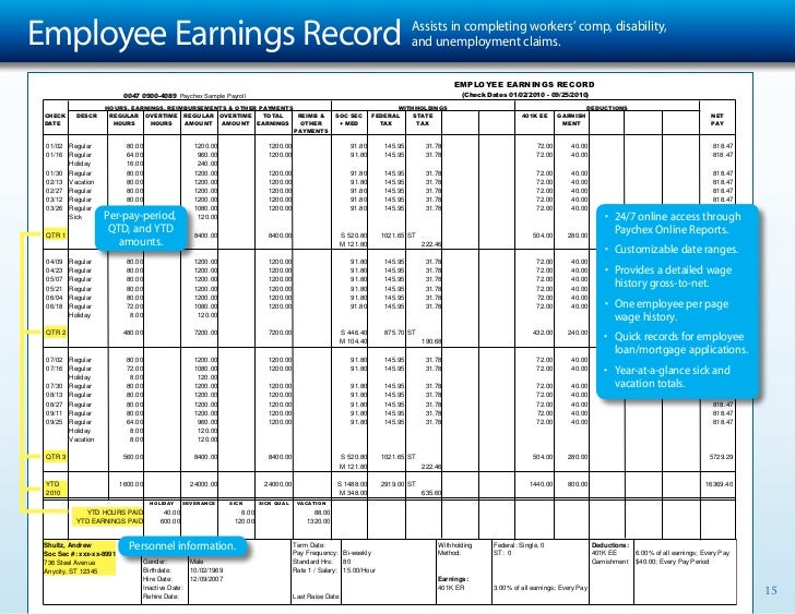 Employee Earnings Record Excel Template   Fieldstation.co  Employee Payroll Record Template