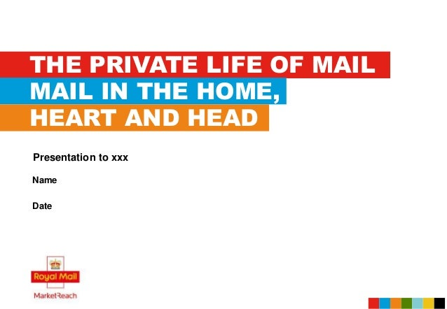 THE PRIVATE LIFE OF MAIL MAIL IN THE HOME, HEART AND HEAD Name Date Presentation to xxx