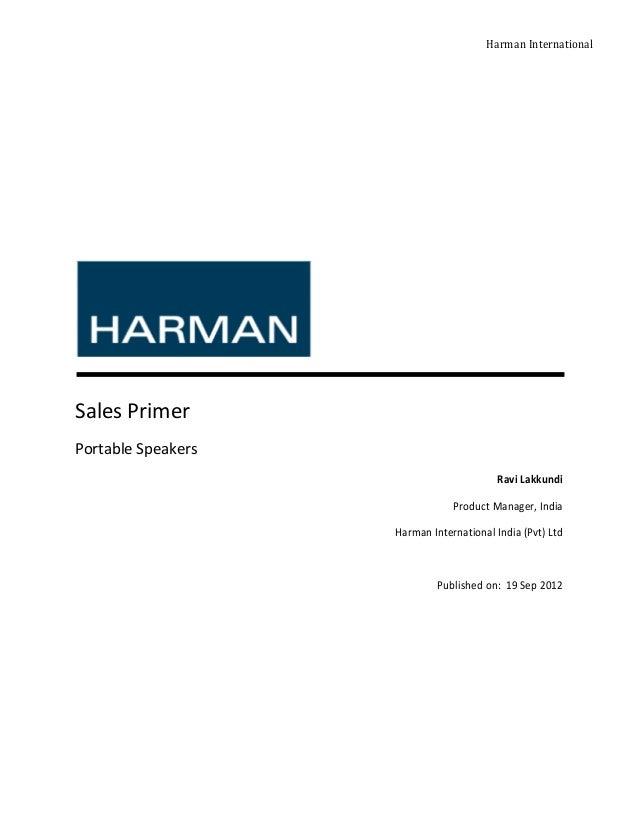 Harman InternationalSales PrimerPortable Speakers                                         Ravi Lakkundi                   ...