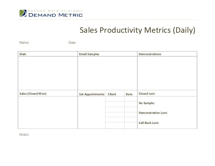 Sales Productivity Metrics (Daily)Name:                Date:Dials                        Email Samples                    ...