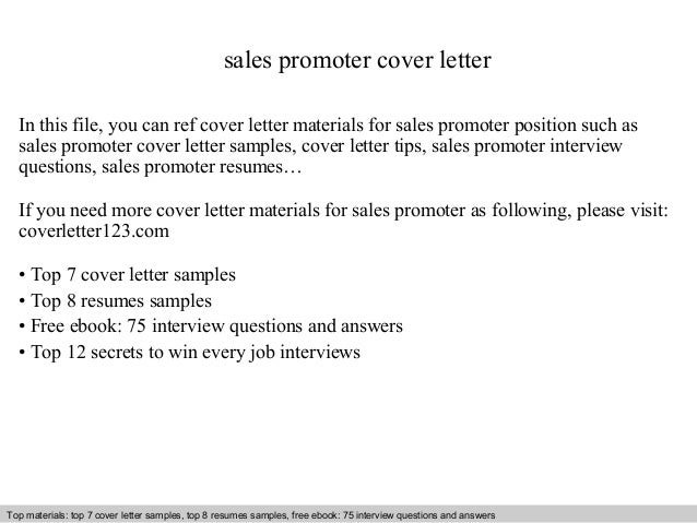 Sales Promoter Cover Letter In This File, You Can Ref Cover Letter  Materials For Sales ...