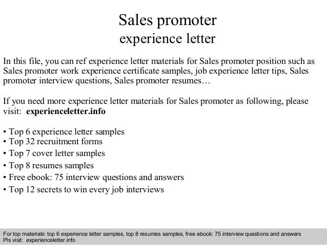 Sales promoter experience letter In this file, you can ref experience  letter materials for Sales Experience letter sample ...