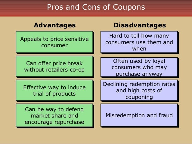 pros and cons promotional mix Pros and cons of implementing a points based loyalty program  one of the more useful tools in a loyalty marketer's arsenal used to build better brand advocates.