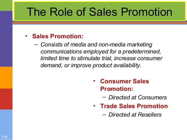 the role of sales promotion The sales force takes on a completely different role in business-to-business sales of advertising and promotion, the sales force is more concerned with.