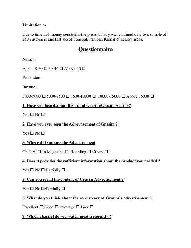 Effect sales promotion questionnaire