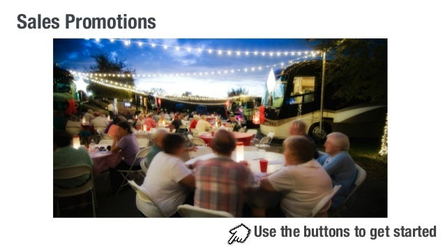 Sales Promotions  Use the buttons to get started