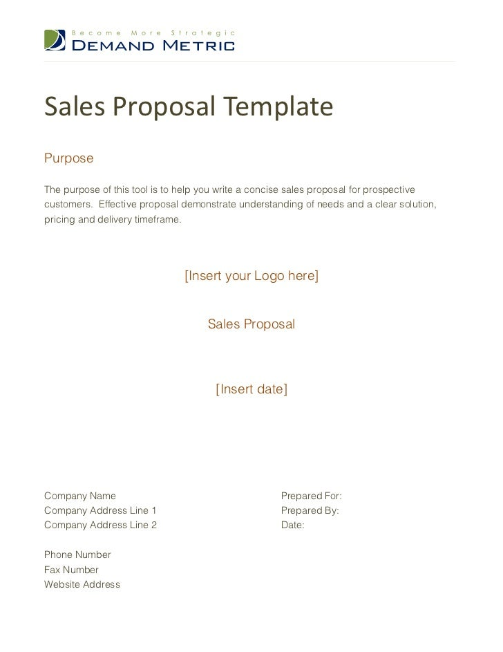 sales proposal templatepurposethe purpose of this tool is to help you write a concise sales proposal
