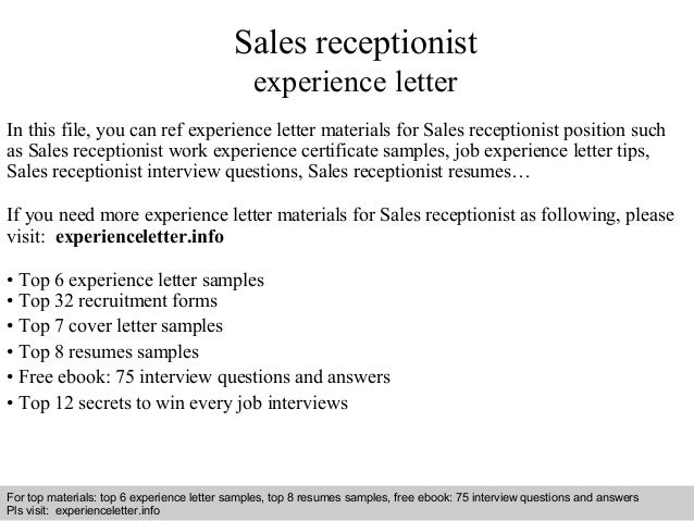 sales receptionist experience letter in this file you can ref experience letter materials for sales experience letter sample