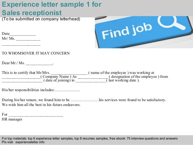 Sales receptionist experience letter experience letter sample 1 for sales receptionist yelopaper Images