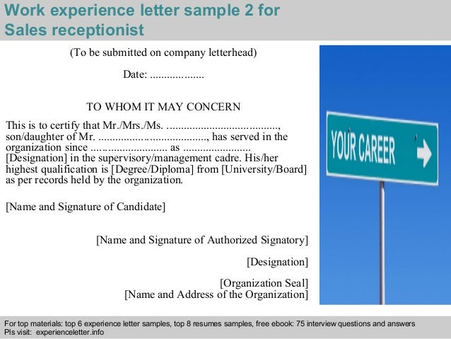 Sales receptionist experience letter work experience letter sample 2 for sales receptionist spiritdancerdesigns Image collections