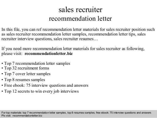 letter of recommendation sales recruiter recommendation letter 13854