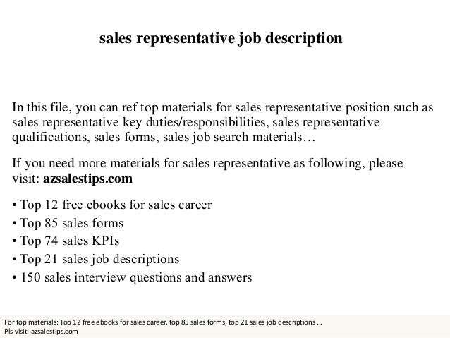 Doc.#12401754: Sales Job Description – Job Descriptions For ...