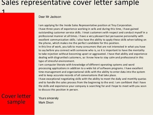 Sales Representative Cover Letter ...  Cover Letter For Sales Representative