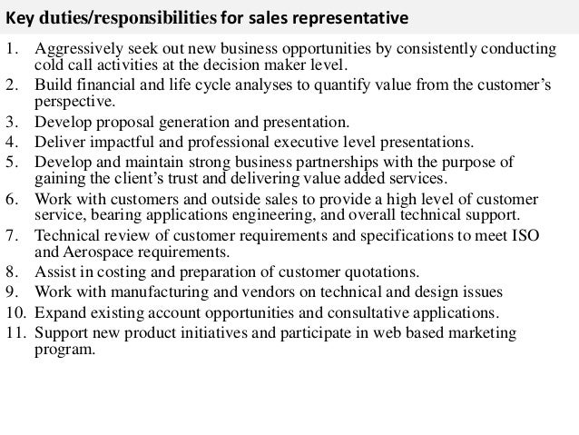 Sales Representative Job Description